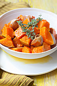 Steamed butternut squash with garlic and lemon thyme