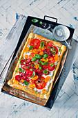 Tomato tarts with basil