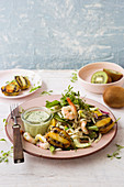 Prawn and kiwi salad with a coconut dressing