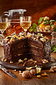 Chocolate cake with glazed sweet chestnuts