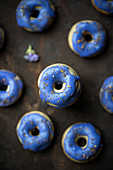 Mini vegan doughnuts with blueberry glaze and flowers spices