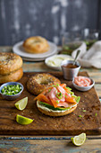 A bagel with salmon, avocado and cream cheese