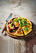 Goats cheese quiche with beetroot and golden beets