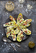 Endive salad with apple, blue cheese and walnuts