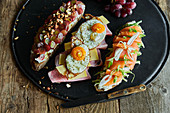 Open sandwiches with colourful toppings