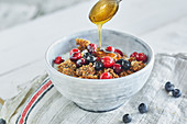 Crispy almond and honey muesli with chia seeds