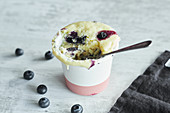 Juicy blueberry ricotta mug cake