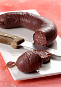 Mustardela, black pudding from the Piedmont region (Italy)