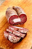 Soppressata di Gioi (speciality sausage from cilento, Southern Italy)