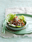 Glass noodle salad with chicken and chili on lettuce leaves (Thailand)