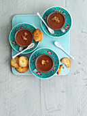 Chocolate mousse pots with ginger shortbread