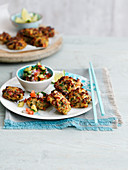 Shrimp and ginger fishcakes with salsa