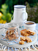 Nut blondies in a glass jar