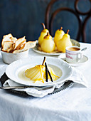 Poached pears with sabayon