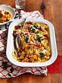 Cheesy Pumpkin and Almond Pasta Bake