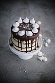 Chocolate and caramel meringue cake