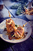 Veal and melted cheese brochette