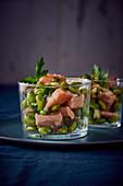 Salmon verrine with edamame beans
