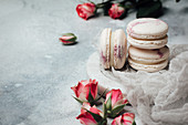 Macaroons with rose buds