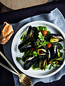 Banksii s mussels in vermouth with green olives and nettle butter