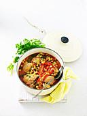 Braised Chicken with Chickpeas, Lemon and Garlic
