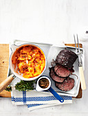 Beef with Red Wine and Kumara Mash