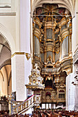 A view of the organ in St Mary's church, Rostock, Germany