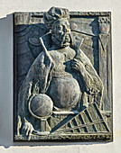 Tycho Brahe with a sundial, a relief by Jo Jastram 1996, Rostock, Germany