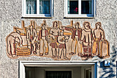 Sgraffito art in Rostock: 'Szenen aus dem Arbeitsleben' (Scenes from working life) by Heinz Becker approx. 1957