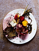 Warm beetroot and goat's cheese salad