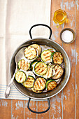 Grilled courgette and eggplant with mozzarella