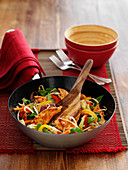 Chicken and vegetable stir fry with sprouts
