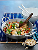 Shrimp stir fry with noodles and cashews (Asia)