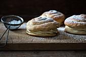 Vegan buns filled with vanilla buttercream