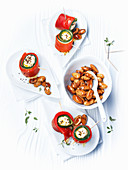 Pepper and courgette rolls with honeyed almonds