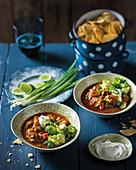 Pork stew with avocado and tacos (Mexico)