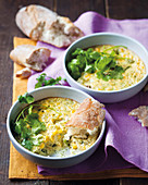 Sweetcorn bake with coriander and crispy bread