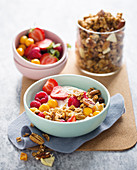 Rich breakfast muesli with fruit and nuts