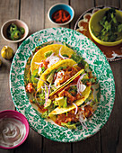 Pulled chicken tacos with avocado (Mexico)