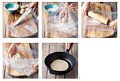 Tortillas being made