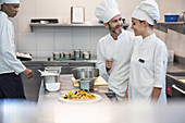 Chefs working together in a commercial kitchen