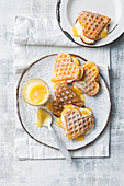 Coconut waffles with lemon curd and meringue