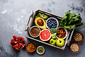 Clean Eating: various healthy foods in a wooden box