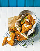 Buttermilk-marinated chicken wings with mayonnaise