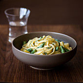Linguine with gorgonzola, potatoes, green beans and sage