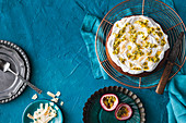 Egg-free banana cake with passion fruit and coconut