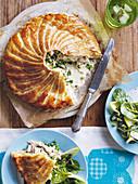 Chicken Pie mit Weisswein, angeschnitten
