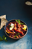 Greek chilli con carne with whipped fetta