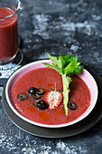 Bloody Mary gazpacho with strawberries and olives for Halloween