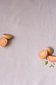 Fresh guavas, halved